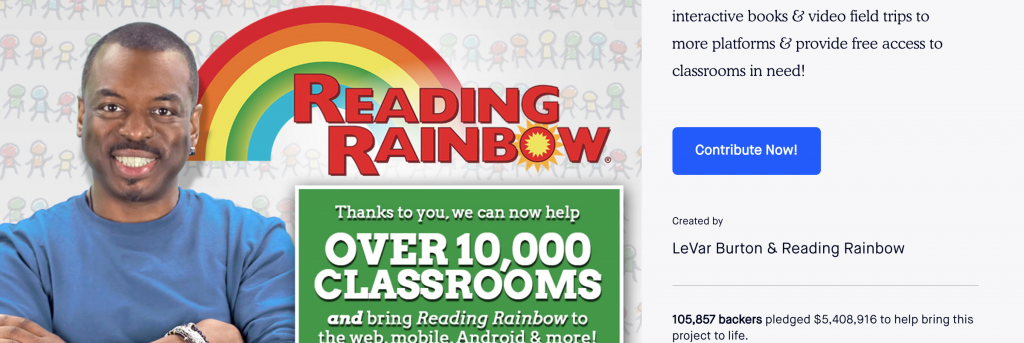 reading rainbow successful kickstarters